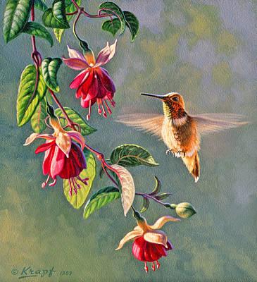 Hummingbird Painting - Rufous And Fuschia by Paul Krapf