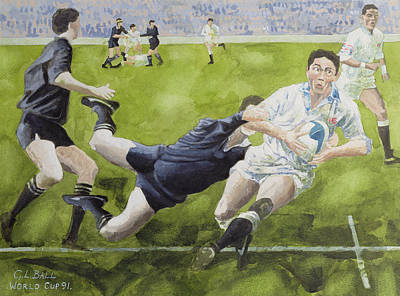 Rugby Match England V New Zealand In The World Cup, 1991, Rory Underwood Being Tackled Wc Print by Gareth Lloyd Ball