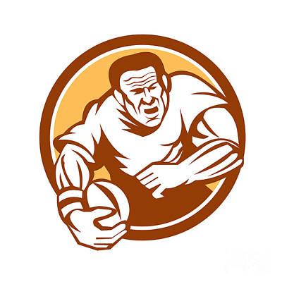 Rugby Player Running Ball Circle Linocut Print by Aloysius Patrimonio