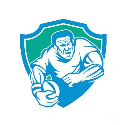 Rugby Player Running Ball Shield Linocut Print by Aloysius Patrimonio