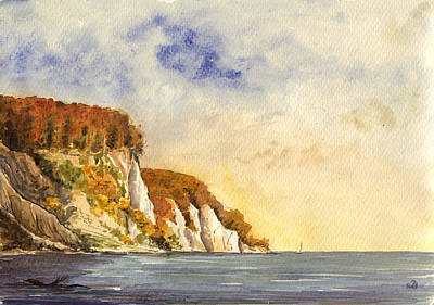 Art Paper Painting - Rugen Cliffs by Juan  Bosco