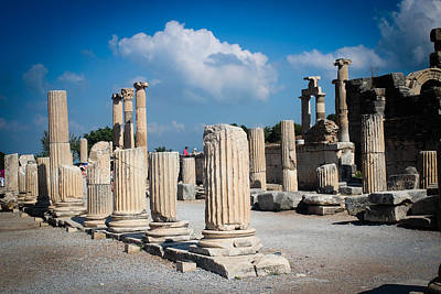 Ruined Marble Columns In Turkey Print by Laura Palmer