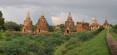 Myanmar Photograph - Ruined Stupas Near Village Of Min Nan by Panoramic Images
