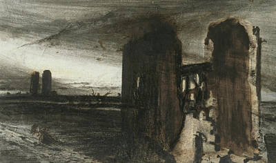 Stormy Weather Drawing - Ruins In A Landscape by Victor Hugo