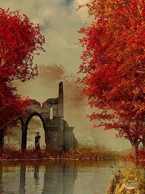 Ruins In Autumn Fog Print by Daniel Eskridge