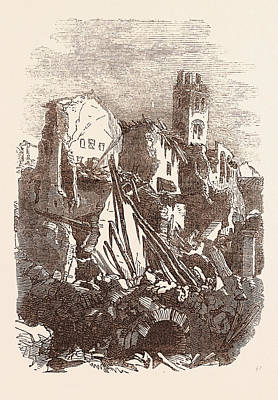 Vulture Drawing - Ruins Of A House, After The Earthquake, At Melfi by Italian School