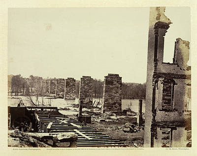 Civil War Battle Site Photograph - Ruins Of A Railroad Bridge by British Library