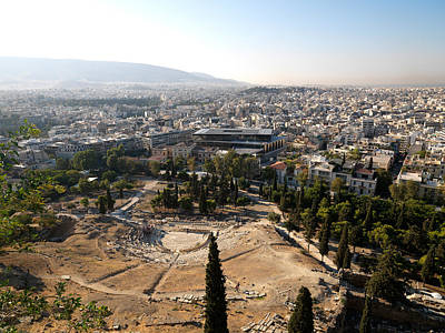 Acropolis Photograph - Ruins Of A Theater With A Cityscape by Panoramic Images
