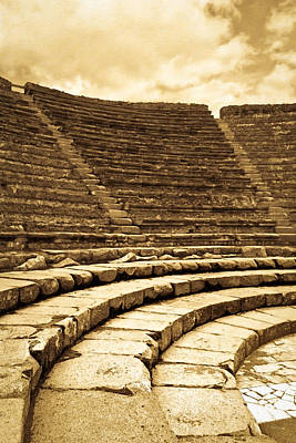 Ancient Photograph - Ruins Of The Little Greek Theatre At Pompeii by Mark E Tisdale