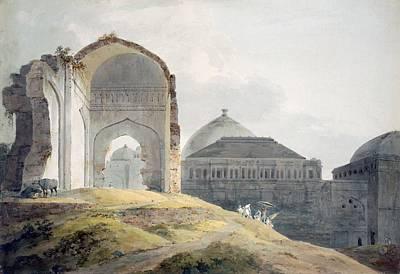 Buffalo Drawing - Ruins Of The Palace Of Madra by Thomas Daniell