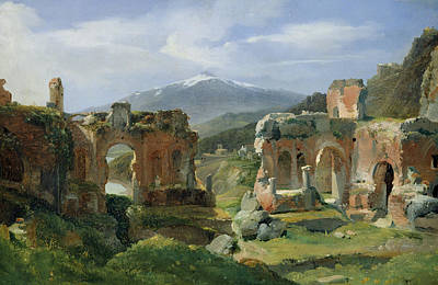 Sicily Painting - Ruins Of The Theatre At Taormina by Achille Etna Michallon
