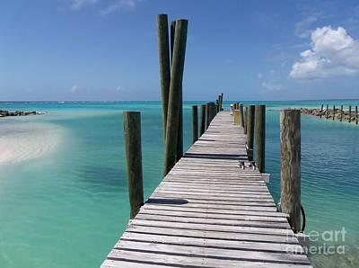 Rum Cay Marina Jetty In Bahamas Print by Jola Martysz