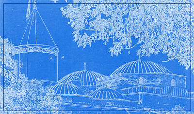 Rumi Painting - Rumi Mosque Blueprint by Celestial Images