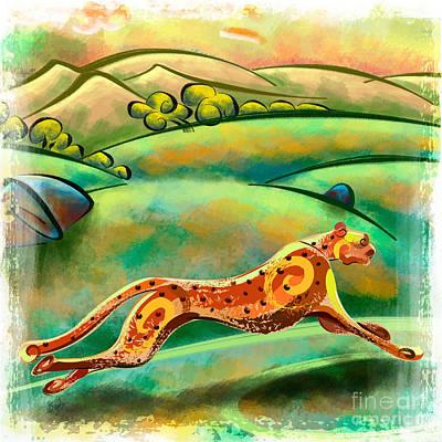 Cheetah Mixed Media - Run Cheetah Run by Bedros Awak
