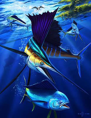 Dolphins Digital Art - Run Down by John Sullivan