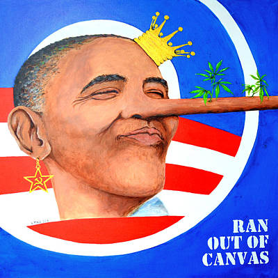 Obama Portrait Painting - Run Out Of Canvas by Victor Minca