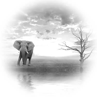 Elephant Mixed Media - Run To Water 2 by Sharon Lisa Clarke