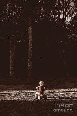 Runaway Child Riding Tricycle At Old Dark Forest Print by Jorgo Photography - Wall Art Gallery