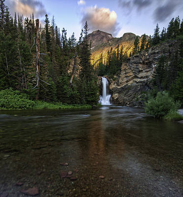 Glacier National Park Photograph - Running Eagle Falls - Luminous Light On Rising Wolf by Thomas Schoeller