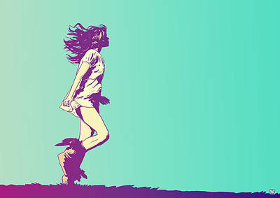 Girl Drawing - Running Free by Giuseppe Cristiano