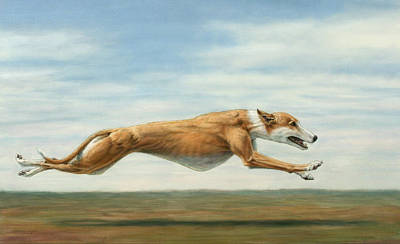 Greyhounds Painting - Running Free by James W Johnson