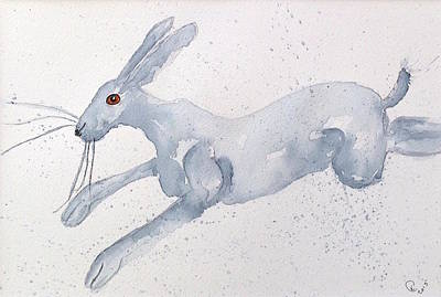 March Hare Painting - Running Hare by Karen  Connolly