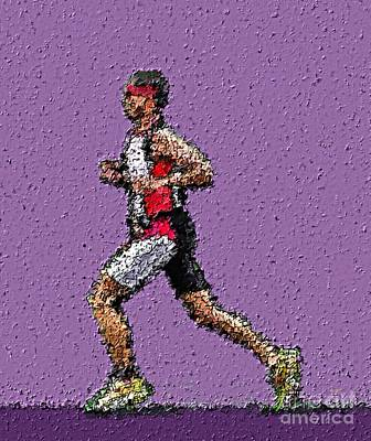 Triathlon Painting - Running In The Zone by Sergio B