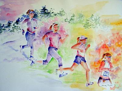 Running Toward The Marathon Print by Sandy Ryan