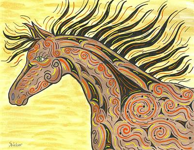 Painting - Running Wild Horse by Susie WEBER