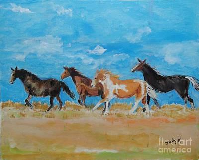 Wild Horse Painting - Running Wild by Judy Kay