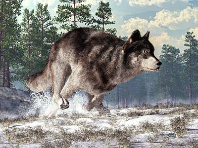 Snowy Digital Art - Running Wolf by Daniel Eskridge