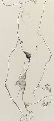 Bosoms Drawing - Running Woman by Egon Schiele