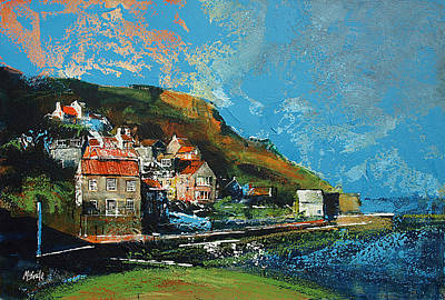 Harbour Painting - Runswick Bay Yorkshire by Neil McBride