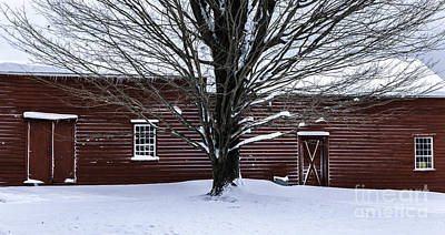 Red Barn. New England Photograph - Rural Farmhouse Simplicity - A Winter Scenic by Thomas Schoeller