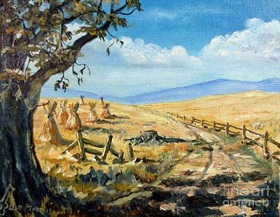 Rural Farmland Americana Folk Art Autumn Harvest Ranch Original by Lee Piper