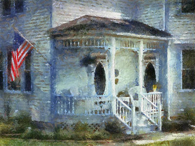 Rural Front Porch With Us Flag Print by Thomas Woolworth