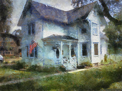 Rural Front Porch With Usa Flag Print by Thomas Woolworth