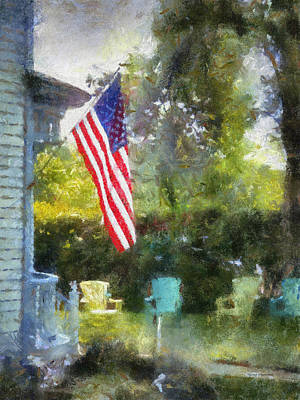 Rural Rear Porch With Flag Vertical Print by Thomas Woolworth