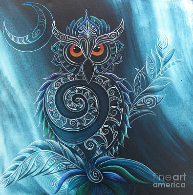 Kiwi Painting - Ruru by Reina Cottier