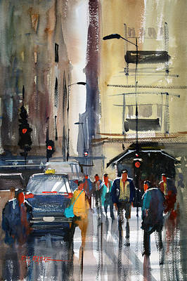 Figures Painting - Rush Hour 2 - Chicago by Ryan Radke