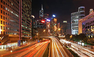 Rush Hour In Hong Kong Print by Lars Ruecker