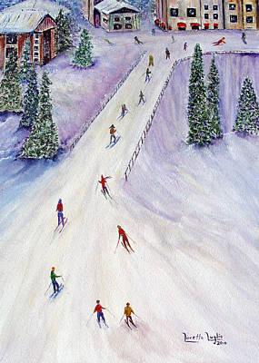 Christmas Painting - Rush Hour by Loretta Luglio