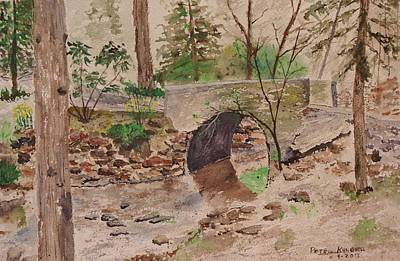 Babbling Brook Painting - Rushing Water by Peter Kundra