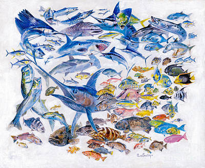 Russ Smiley Gamefish Collage Print by Carey Chen
