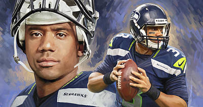 Football Mixed Media - Russell Wilson Artwork by Sheraz A