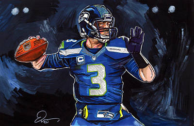 Football Art Drawing - Russell Wilson by Dave Olsen