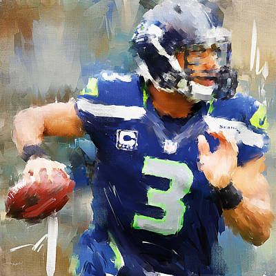 Russell Wilson Print by Lourry Legarde