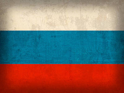 Flag Mixed Media - Russia Flag Distressed Vintage Finish by Design Turnpike