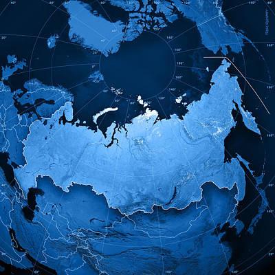 Russia Digital Art - Russia Topographic Map by Frank Ramspott