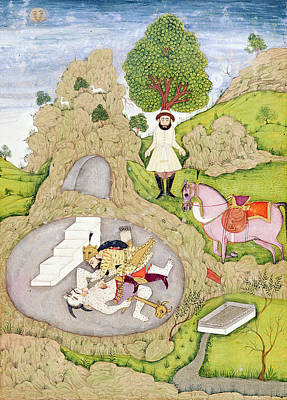 Rustam Killing The White Demon, From The Shahnama Book Of Kings Print by Indian School